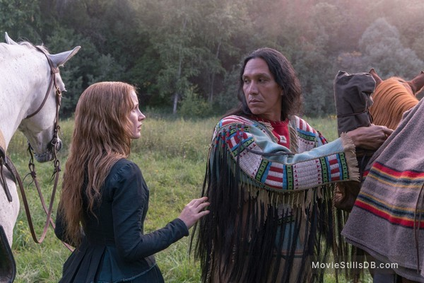Woman Walks Ahead - Publicity still of Michael Greyeyes & Jessica Chastain