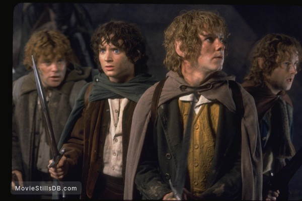 The Lord of the Rings: The Fellowship of the Ring - Publicity still of Elijah Wood, Sean Astin, Dominic Monaghan & Billy Boyd