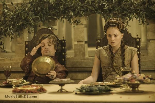 Game of Thrones - Publicity still of Peter Dinklage & Sophie Turner