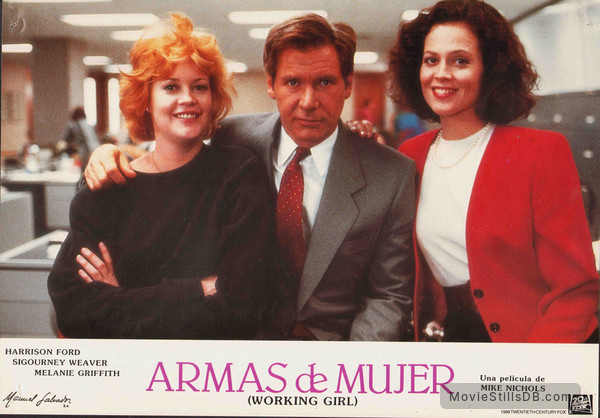 Working Girl - Lobby card with Harrison Ford, Melanie Griffith & Sigourney Weaver