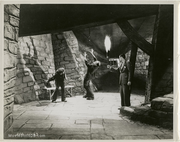 Frankenstein - Publicity still of Boris Karloff, Dwight Frye & Colin Clive