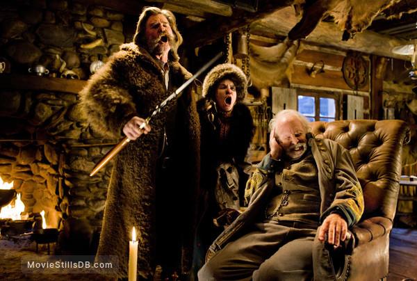 The Hateful Eight - Publicity still of Bruce Dern, Kurt Russell & Jennifer Jason Leigh