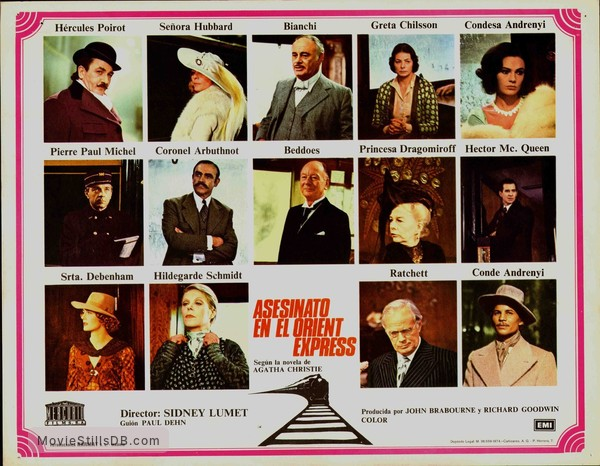 Murder on the Orient Express - Lobby card with Albert Finney, Lauren Bacall, Martin Balsam, Ingrid Bergman, Jacqueline Bisset, J Pierre Cassel, Sean Connery, John Gielgud, Wendy Hiller, Anthony Perkins, Vanessa Redgrave, Richard Windmark, Michael York & Rachel Roberts