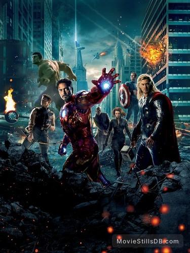 The Avengers - Promotional art with Chris Evans, Chris Hemsworth, Mark Ruffalo, Jeremy Renner, Scarlett Johansson, Samuel L. Jackson & Robert Downey Jr.