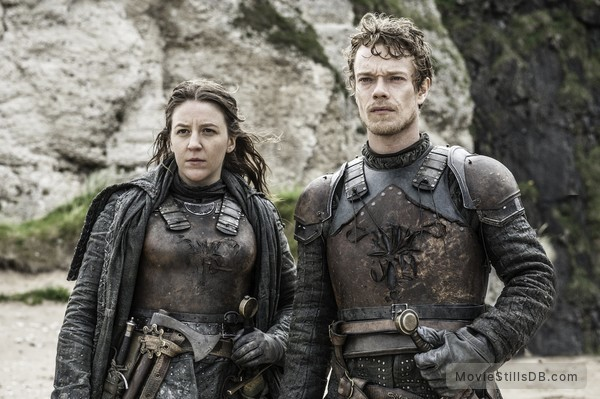 Game of Thrones - Publicity still of Alfie Allen & Gemma Whelan