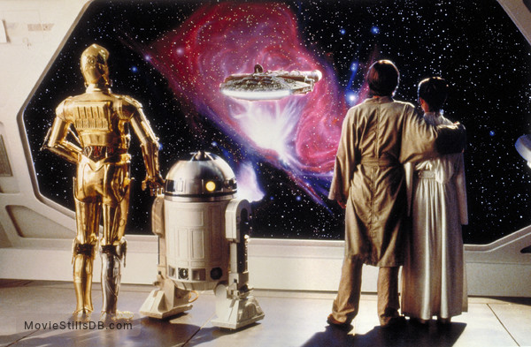 Star Wars: Episode V - The Empire Strikes Back - Publicity still of Anthony Daniels, Kenny Baker, Mark Hamill & Carrie Fisher