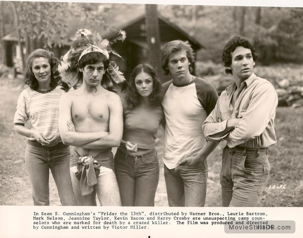 Friday the 13th - Publicity still of Laurie Bartram, Mark Nelson, Jeannine Taylor, Kevin Bacon & Harry Crosby