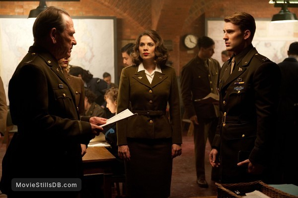 Captain America: The First Avenger - Publicity still of Tommy Lee Jones, Chris Evans & Hayley Atwell