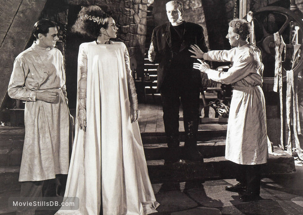 Bride of Frankenstein - Publicity still of Elsa Lanchester, Boris Karloff, Colin Clive & Ernest Thesiger