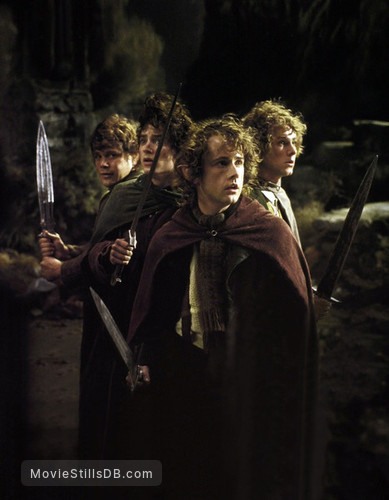 The Lord of the Rings: The Fellowship of the Ring - Publicity still of Elijah Wood, Dominic Monaghan, Sean Astin & Billy Boyd