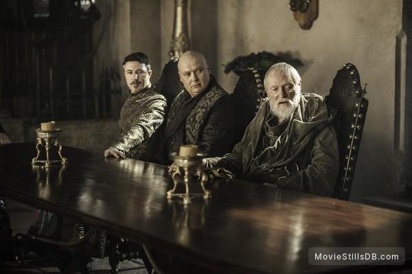 Game of Thrones - Publicity still of Conleth Hill, Julian Glover & Aidan Gillen