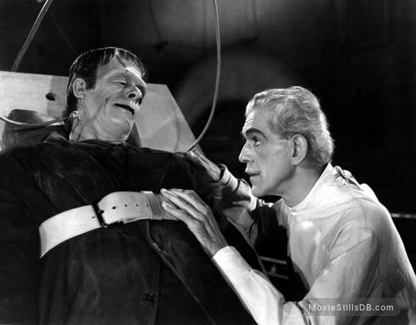 House of Frankenstein - Publicity still of Boris Karloff & Glenn Strange
