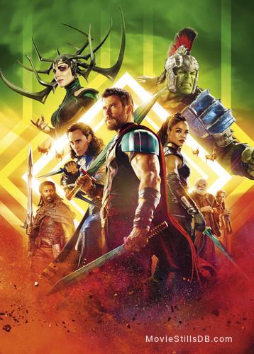 Thor: Ragnarok - Promotional art with Cate Blanchett, Mark Ruffalo, Anthony Hopkins, Idris Elba, Tessa Thompson, Jeff Goldblum, Chris Hemsworth & Tom Hiddleston