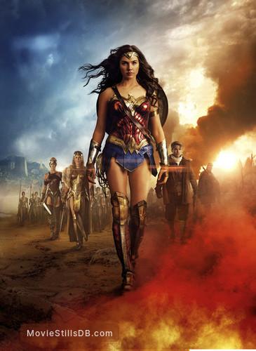 Wonder Woman - Promotional art with Connie Nielsen, Chris Pine, Gal Gadot, Robin Wright & Ewen Bremner