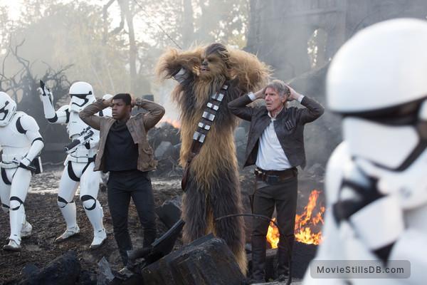 Star Wars: The Force Awakens - Publicity still of Harrison Ford, Peter Mayhew & John Boyega