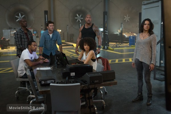 Fast & Furious 8 - Publicity still of Ludacris, Tyrese Gibson, Michelle Rodriguez, Dwayne Johnson, Scott Eastwood & Nathalie Emmanuel