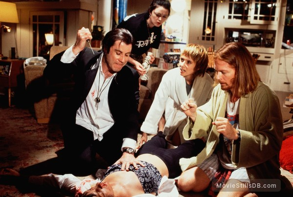 Pulp Fiction - Publicity still of John Travolta, Uma Thurman, Rosanna Arquette, Eric Stoltz & Bronagh Gallagher