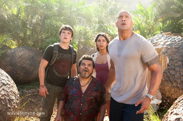 Journey 2: The Mysterious Island - Publicity still of Luis Guzmán, Vanessa Hudgens, Dwayne Johnson & Josh Hutcherson