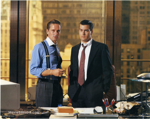 Wall Street - Lobby card with Michael Douglas & Charlie Sheen