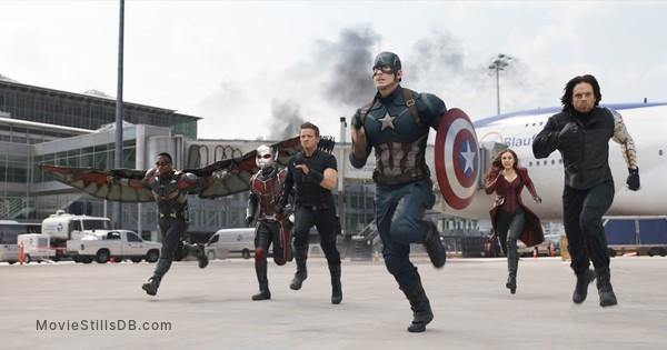 Captain America: Civil War - Publicity still of Chris Evans, Paul Rudd, Jeremy Renner, Sebastian Stan, Anthony Mackie & Elizabeth Olsen