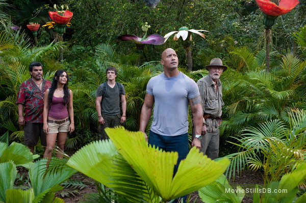 Journey 2: The Mysterious Island - Publicity still of Luis Guzmán, Vanessa Hudgens, Michael Caine, Dwayne Johnson & Josh Hutcherson