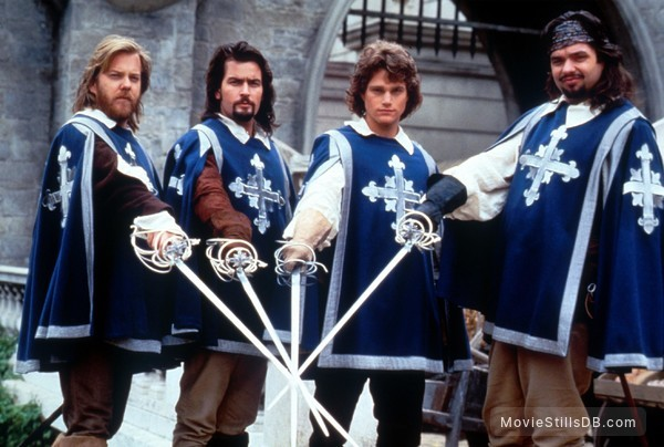 The Three Musketeers - Publicity still of Chris O'Donnell, Oliver Platt, Kiefer Sutherland & Charlie Sheen