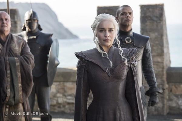Game of Thrones - Publicity still of Emilia Clarke, Conleth Hill & Jacob Anderson
