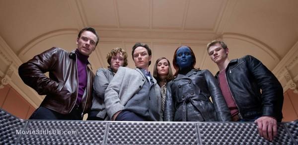 X-Men: First Class - Publicity still of James McAvoy, Michael Fassbender, Jennifer Lawrence, Rose Byrne, Lucas Till & Caleb Landry Jones