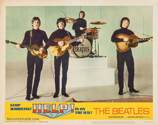 Help! - Lobby card with John Lennon, Paul McCartney, George Harrison & Ringo Starr