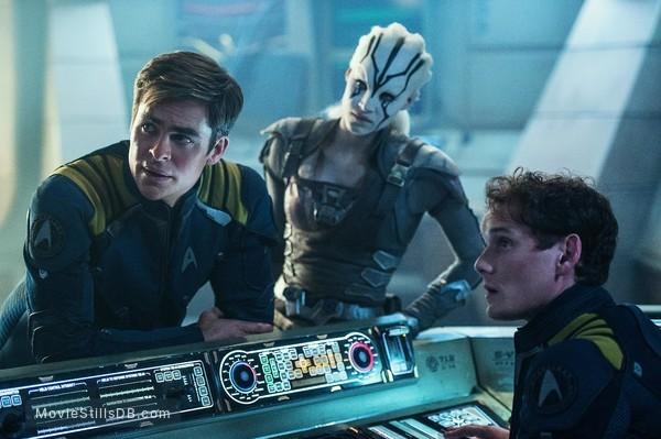 Star Trek Beyond - Publicity still of Anton Yelchin, Chris Pine & Sofia Boutella
