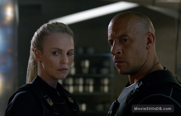 Fast & Furious 8 - Publicity still of Charlize Theron & Vin Diesel