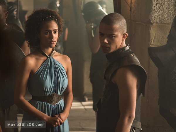 Game of Thrones - Publicity still of Nathalie Emmanuel & Jacob Anderson