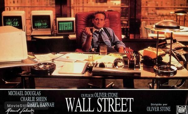 Wall Street - Lobby card with Michael Douglas