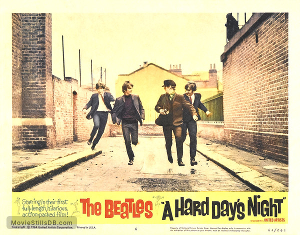 A Hard Day's Night - Lobby card with Paul McCartney, George Harrison, Ringo Starr & John Lennon