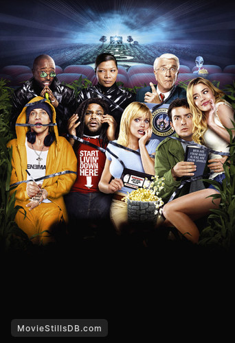 Scary Movie 3 - Promotional art with Anna Faris, Queen Latifah, Leslie Nielsen, Charlie Sheen, Simon Rex, Eddie Griffin, Denise Richards & Anthony Anderson