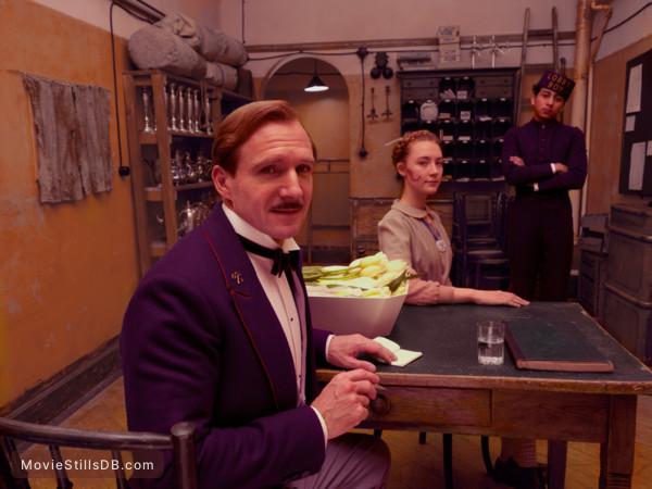The Grand Budapest Hotel - Publicity still of Ralph Fiennes, Saoirse Ronan & Tony Revolori