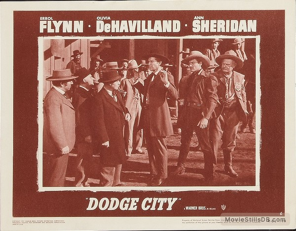 Dodge City - Lobby card with Errol Flynn & Alan Hale