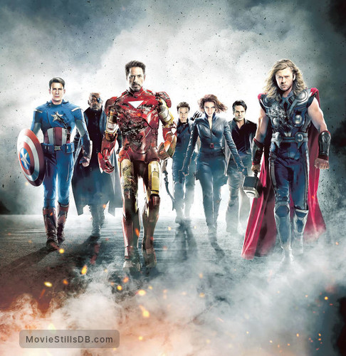 The Avengers - Promotional art with Chris Evans, Robert Downey Jr., Scarlett Johansson, Chris Hemsworth, Jeremy Renner, Mark Ruffalo & Samuel L. Jackson