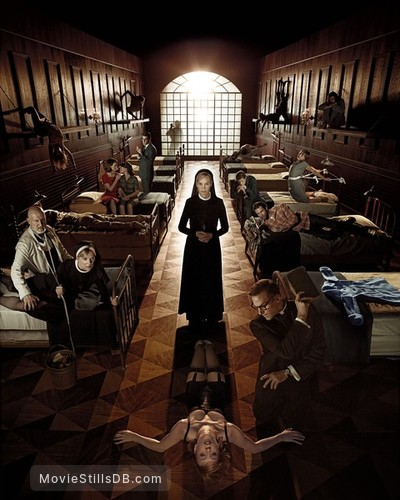 American Horror Story - Promotional art with Jessica Lange, Clea DuVall, Lily Rabe, Zachary Quinto, James Cromwell, Evan Peters, Adam Levine & Chloë Sevigny