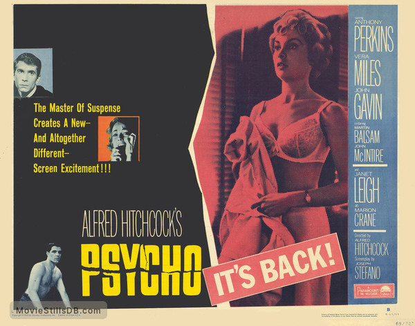 Psycho - Lobby card with Anthony Perkins, Vera Miles, Janet Leigh & John Gavin