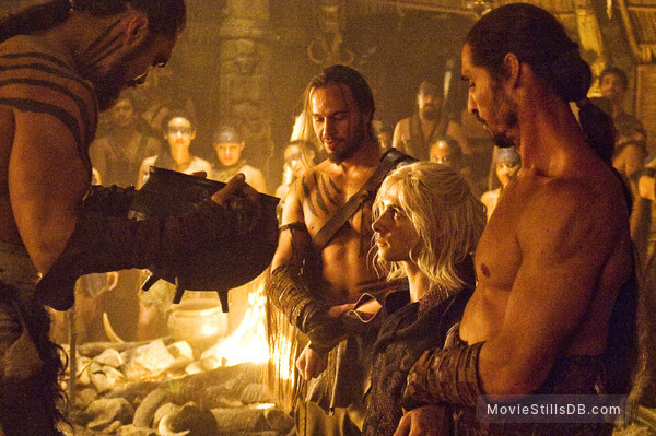 Game of Thrones - Publicity still of Jason Momoa, Harry Lloyd & Dar Salim