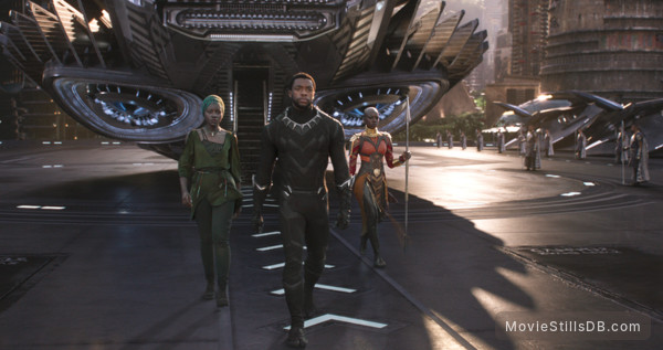 Black Panther - Publicity still of Chadwick Boseman, Lupita Nyong'o & Letitia Wright