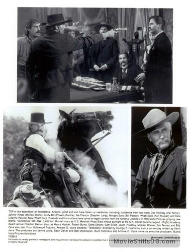 Tombstone - Lobby card with Powers Boothe, Michael Biehn, Stephen Lang, Joanna Pacula, Kurt Russell, Bill Paxton, Val Kilmer & Charlton Heston