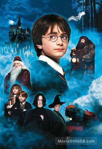 Harry Potter and the Sorcerer's Stone - Promotional art with Daniel Radcliffe, Rupert Grint, Emma Watson, Richard Harris, Robbie Coltrane, Alan Rickman & Maggie Smith