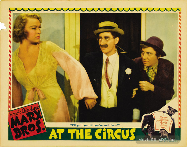At the Circus - Lobby card with Groucho Marx, Chico Marx & Eve Arden