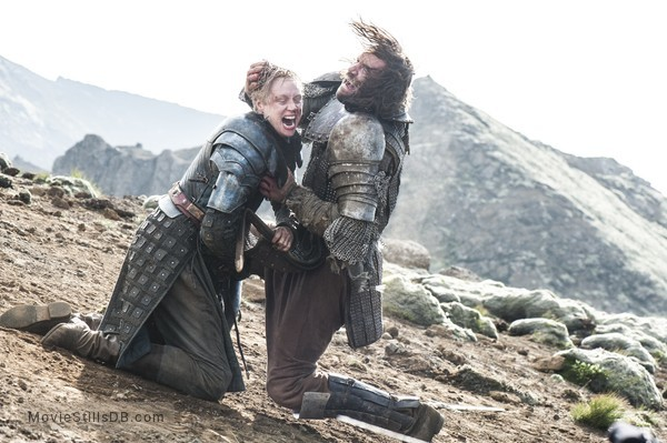 Game of Thrones - Publicity still of Rory McCann & Gwendoline Christie