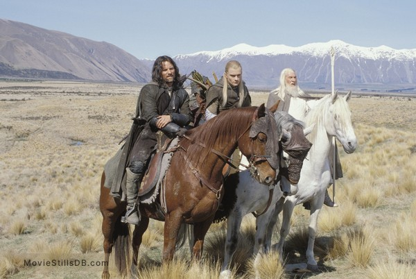 The Lord of the Rings: The Two Towers - Publicity still of Orlando Bloom, Ian McKellen & Viggo Mortensen
