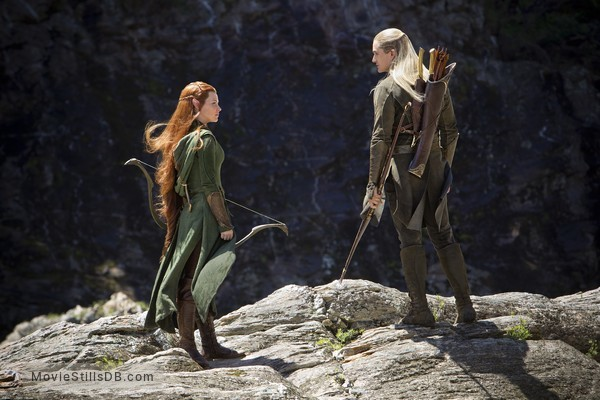 The Hobbit: The Desolation of Smaug - Publicity still of Orlando Bloom & Evangeline Lilly