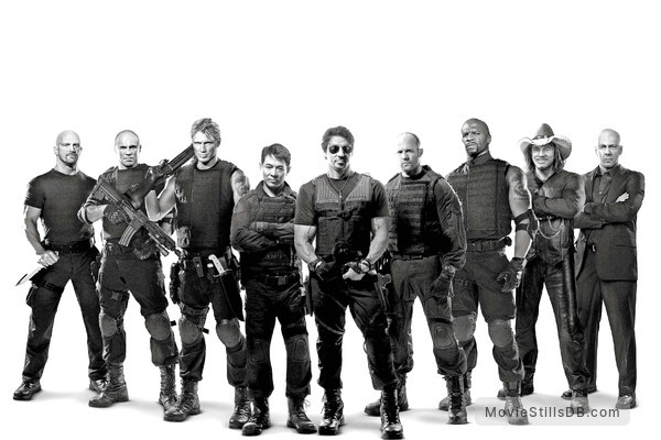 The Expendables - Promotional art with Dolph Lundgren, Sylvester Stallone, Bruce Willis, Jason Statham, Jet Li, Mickey Rourke, Terry Crews, Randy Couture & Steve Austin