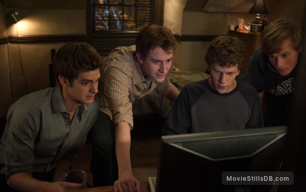 The Social Network - Publicity still of Joseph Mazzello, Jesse Eisenberg, Andrew Garfield & Patrick Mapel